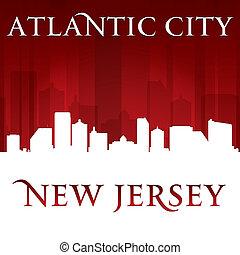 Atlantic City New Jersey silueta rojo fondo