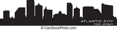 Atlantic City, New Jersey Skyline. Silueta detallada.