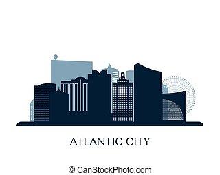 atlantic city, silhouette., contorno, monocromo