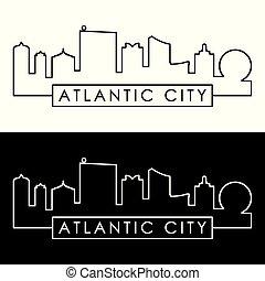 Atlantic City Skyline. Estilo lineal.