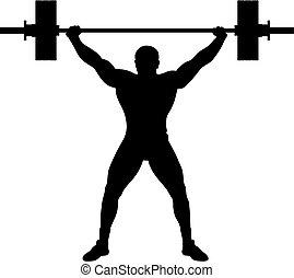 atleta, levantador, peso