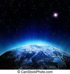atmósfera, nubes, espacio