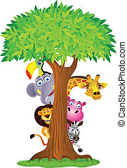 atrás, árbol, caricatura, animal, paliza