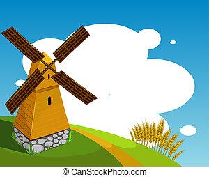 Atrás con molino de viento