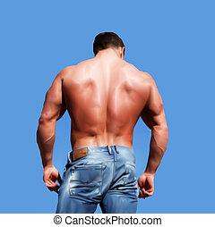 Atrás de un hombre musculoso sexy, aislado en blanco. Vector