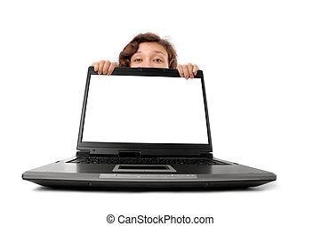 atrás, mujer, computador portatil, paliza