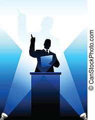 atrás, silueta, business/political, podio, orador