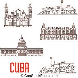 atracción, cuba, arquitectura, turista, iconos, viaje