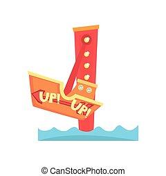 Atracción de barcos. Parque de diversiones. Carnaval infantil. Icono Carousel. Diseño de vectores planos de entretenimiento para publicidad, pancarta o volante
