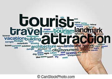 atracción, palabra, turista, nube