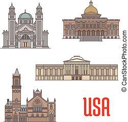 Atracción turística de EE.UU. y arquitectura