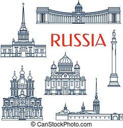 Atracciones arquitectónicas rusas iconos de delgada línea