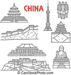 Atracciones turísticas de icono de China, estilo de línea delgada