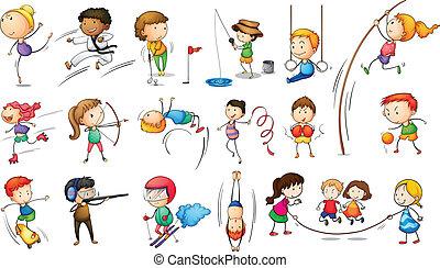 atractivo, diferente, niños deportivos