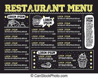 atractivo, menú, restaurante, diseño