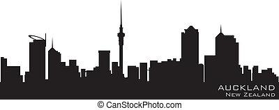 Auckland, nueva línea aérea de Zealand. Detallado vector silueta