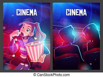 audiencia, carteles, teatro, vestíbulo, cine, película