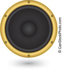 Audio altavoz con icono, vector iluminau