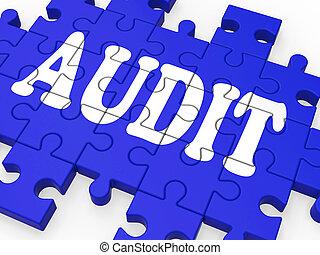 auditoría, rompecabezas, actuación, inspections, auditor