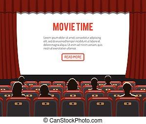 Auditorio de cine con asientos y públicos