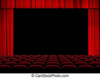 Auditorio rojo del teatro con escenario, cortinas y asientos