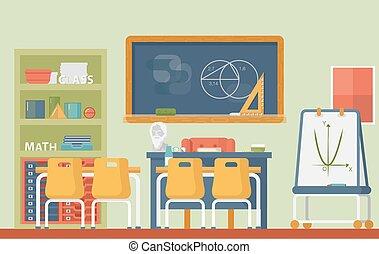 aula, círculos, escuela, axiomatic, matemático, geometría, pizarra, plato, cilindro, esfera, práctico, archimedes, tiza, euclid, interior., lección, o, bust.