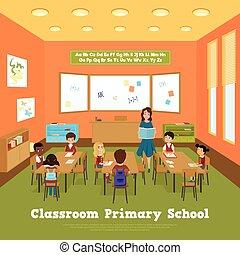 aula, escuela, primario, plantilla