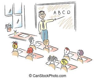 aula, escuela, vector, niños, profesor