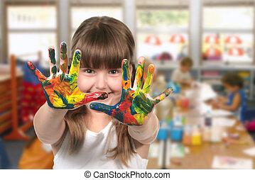aula, jardín de la infancia, pintura