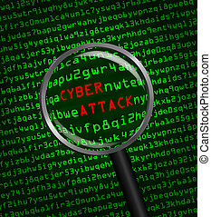 aumentar, cyber, por, código, ataque, computadora, máquina, revelado, palabras, vidrio