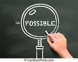 aumentar, hallazgo, posibilidad, mano, dibujado, vidrio, afuera
