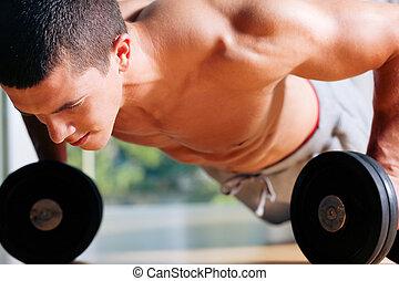 aumentar, -, hombre, empujón, gimnasio, ejercitar