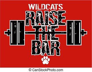 aumento, barra, wildcats