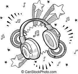 auricular, emoción, bosquejo