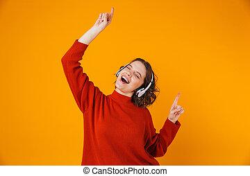 auriculares, 20s, retrato, bailando, radio, canto, hermoso, llevando, mujer