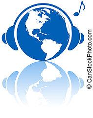Auriculares del mundo de la música terrestre en el planeta hemisferio occidental