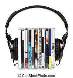 auriculares, pila, cds