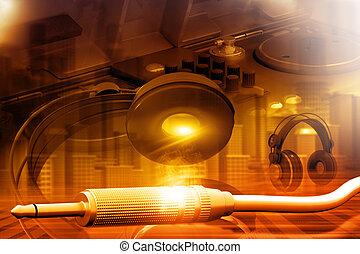 auriculares, plano de fondo, dj partido, batidora