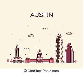 Austin Skyline, Texas, USA. Estilo lineal Vector