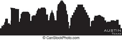 Austin, texas Skyline. Detallado vector silueta