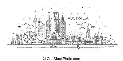 australia, contorno, cityscape, illustration., famoso, vector, arquitectura, señales, lineal, línea