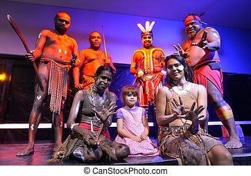 australia, gente, niña, poco, nativo, fotografiado
