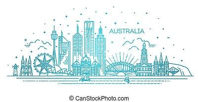 australia, línea, señales, arquitectura, contorno, famoso, lineal, cityscape, illustration., vector