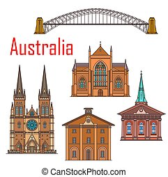 australia, sydney, edificios, señal, arquitectura