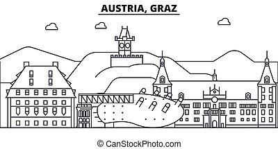 Austria, Línea de Arquitectura Graz ilustración en el horizonte. Vector lineal Cityscape con puntos de referencia famosos, vistas de la ciudad, iconos de diseño. Landscape wtih derrames editables