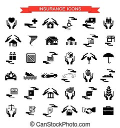 Auto de seguros, casa, desastres, inversión, salud y íconos de viaje