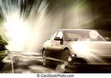 Auto deportivo en camino
