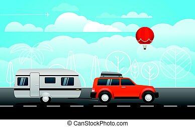 Auto en camino ilustración vectorial