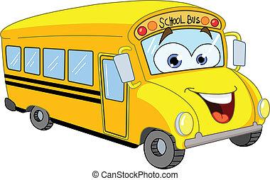 autobús, escuela, caricatura