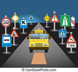 autobús, escuela, señales